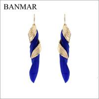 Wholesale BANMAR Handmade Elegant feather Drop Earrings Fashion Women Accessories Vintage Style Alloy Long Feather Earrings For Women
