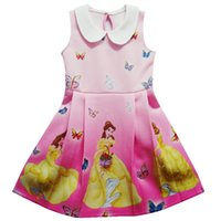 bella girls clothing - Bella Princess Dresses Beauty Beast Girls Dress Cosplay Costume Baby Cartoon TUTU Movie Chilld Party Clothes ZH0023 Cotton Butterfly Printed