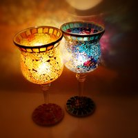 art glass gifts - Factory direct mosaic Candlestick lamp Nightlight glass mosaic type garden products factory direct foreign demand is big