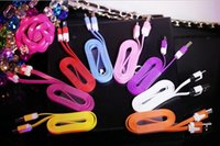 Wholesale 2016 hot new m long interface color small noodles data line smart phone USB charging cable for iphone5