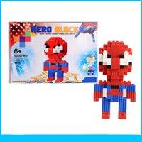 Wholesale Spiderman Building Blocks Superman Batman Iron Man Wolverine Cyclops Toys Children puzzle models Toy Christmas Gift