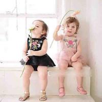 al por mayor bebé vestido negro rosa-Los vestidos de la nueva niña de los niños que arropan el vestido bordado nacional de Romoer del estilo de la flor visten el negro rosado A6299 del vestido de partido de las muchachas