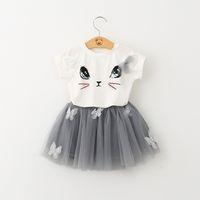 baby girls bubble dress - INS Baby Clothes Girls Dress Cute Cat Short Sleeve T shirt Ball Gown Dresses Bubble Skirt Tulle TUTU Dress Children Set Kids Clothing