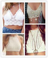 Mulheres Crochet Lace Bralette Knit Bra Praia Bikini Branca Colheita B2 Frete Grátis