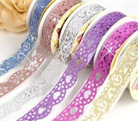 Wholesale 2016 Hot sweet solid colors double lace style fabric lace tape sticker tape mm