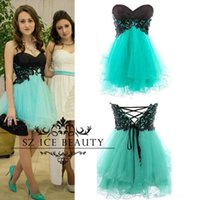 Wholesale Real Photos Cheap Short th Grade Prom Homecoming Dresses With Black Appliques Puffy A Line Tulle Cheap Girls Party Gown