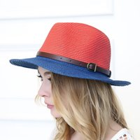 Wholesale Women Vintage Casual Summer Stitching Color Leather Buckle Jazz Wide Eaves Straw Hat