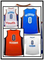 al por mayor kids wholesale-Logotipo adulto # 0 Russell Westbrook de los hombres de los jerseys del jersey de los jerseys del westbrook de Russell de los hombres el envío libre rápido al por mayor