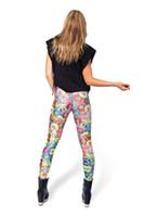 Leggings de las mujeres de moda occidental nuevo 3D digital impreso sexy delgado polainas femenino de poliéster medio tobillo-longitud polainas partido de noche
