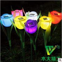 Wholesale Christmas Decoration PVC Solar Energy Tulip Shaped Light Rose Flower Night Light Romantic Ligh Lawn Lamps CCA5271