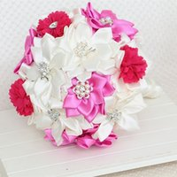 beaded wedding bouquet - Romantic Wedding Bouquets inch Height Bride Holding Flowers Customized Handmade Artificial Wedding Bouquets with Pearl Beaded Brooch