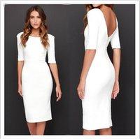 Wholesale 2016 new fashion women white blackless sexy long dress