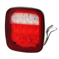 Remolque para camiones rojo / blanco Barco Jeep Stop Girar la cola hacia atrás 16 LED Light Stud Mount