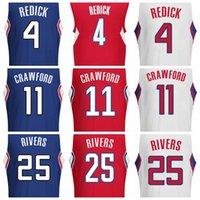 austin rivers - 2017 Iron Printed Top Quality Cheap J J Redick Blue Jamal Crawford Red Austin Rivers White Basketball Jersey