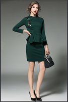 Wholesale 2016Autumn and winter the new solid color OL commuter temperament ladies Slim package hip step fake two dress womens office dresses1210
