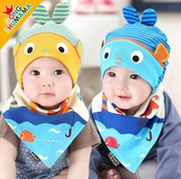 Wholesale 2016 Autumn New Baby Caps Sets Cartoon Fish Stripe Cotton Fashion Boy Girl Hats Bibs Monthes MZ3923