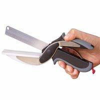 Wholesale AAA Clever Cutter in Stainless Steel Kitchen Scissors with Sharp Knife Blade Cutting Board Kid Food Cutter for Meat Vegetable