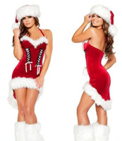 Wholesale Hot Sale Miss Women Santa Claus Costumes Female Woman Fancy Dresses With Leg Warmers For Christmas Party Clothes Red A1166