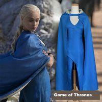 Wholesale 2017 Game Of Thrones Daenerys Targaryen Halloween Costume Mother Of Dragon Cosplay Animation With Cap Cloak