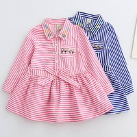 Wholesale girl striped shirt dress long sleeved blouse Baby Kids Clothing Girls Spring Shirts summer casual cotton clothes