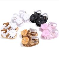 baby sandals sale - Beautiful flowers rhinestones barefoot sandals month newborn PU boy soft solede sandals hot sale baby new walking shoes XY