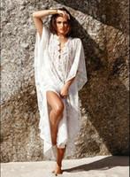 Wholesale 2017 New Bohemian Style White Summer Beach Cover Ups Long Swimsuits Bikini Covers Sun Protect Dresses Cheap FS0840