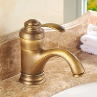 Wholesale Brass Water Taps Mixers Euopean Style Antique Single Hole Basin Faucets Deck Mounted Single Handle Tap