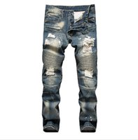 Wholesale In the famous brand senior designer crime locomotive denim jeans capris puncture hole jeans size to