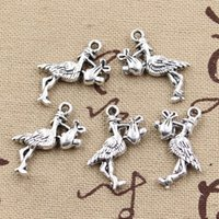 baby necklace charms - Cents Charms stork baby bird mm Antique Making pendant fit Vintage Tibetan Silver DIY bracelet necklace