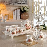 Wholesale 8 Gold Rose New Bone china Coffee Tea Sets Drinking Ware Cups and Saucers Mug Eco Friendly