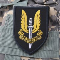 Wholesale UK Special Air Service SAS Embroidery D Badge Patch WHO DARES WINS Morale Military Armband Tactical Patches free ship