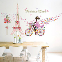 Wholesale QT DIY Mural Flower Fairy Girl Cycling Lron Tower Stickers Waterproof Bedroom Background Wall Art Home Decor Wall Sticker
