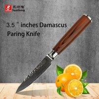 Wholesale 3 inch fruit knife Damascus kitchen knives super sharp paring knife senior damascus steel peeling knife Color red wood handle