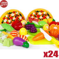 Wholesale New Colorful Kids Kitchen Toys Pizza Vegetable Fruit Food Pretend Role Play Learning Educational Safe Plastic Child Gifts