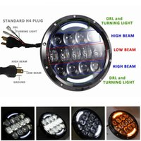 Wholesale 7 Inch w Round LED Projector Headlights with DRL Hi lo Beam for Jeep Wrangler Jk Tj Headligth Harley Motorcycle Lamp