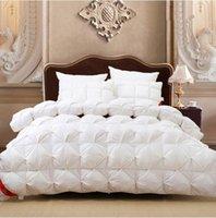 Wholesale Goose Down Comforter White Pink Satin Winter comforters Quit Doona Duvet King size Queen Full Twin Warm solid x230 x240cm