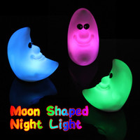 Wholesale 1 PC Plastic Novelty Lamp Changing Color LED Energy Night Light Moon Shaped Colorful Great Gift