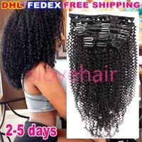 Clip afroamericano en extensiones de cabello humano Virgin brasileño pelo Afro Kinky rizado clip de cabello humano cabezal completo 120g 9Pcs