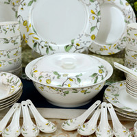 Wholesale 46 Pieces luxury Rural Gold Inlay Ceramics Dinnerware Sets Bowls Spoon Plant Bong China Porcelain in glaze Decoration Gift