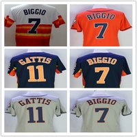 El tissu Prix-New Fabric Mens Flexbase Version # 7 Craig Biggio # 11 Evan Gattis Jersey Couleur Gris Navy Rainbow Orange White Jerseys