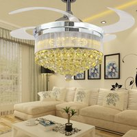 Wholesale Modern Chrome Crystal Retractable Ceiling Fans With Lights Living Room Folding Ceiling Fan Led Lamp Remote Control Ventilador