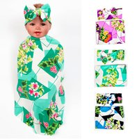 baby sleeping bag or blanket - Bohemia Blankets Winter Warm Blankets Flowers print infant Swaddling cotton baby bed sheet Sleeping Bag with hat or headband colors C1848