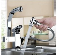 Wholesale Centerset Contemporary Two Spouts Kitchen Faucet Deck Mounted Pull Out Sink Mixer Tap Chrome