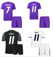 Wholesale Thai quality real madrid kits jersey RONALDO JAMES BALE Soccer Sets Men s Soccer Uniforms with Shorts football shirts