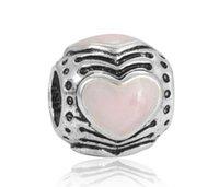 al por mayor esterlina encanto de plata de color rosa-Los granos europeos aptos del encanto europeo del esmalte del corazón de los encantos de la pulsera de Pandora de la plata esterlina cupieron la pulsera de cadena de la serpiente La joyería original de la manera DIY