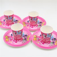 bamboo plates disposable - My little pony cartoon kids birthday party set disposable decorations papper plates paper cups glass party supplies PC