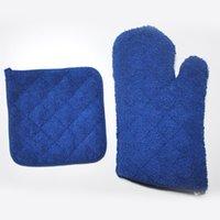 kitchen oven gloves - Kitchen Gadgets Kitchen Cooking Gloves Microwave Oven Cotton Glove Non slip Heat Resistant blue free shopping
