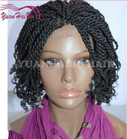 Wholesale Top quality african americans synthetic braided lace front wigs density full kinky twist lace wigs full hand braided wig tip curly