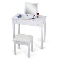 Wholesale White Mirrorred Makeup Desk Vanity Table Cosmetics Storage Organizer Desk with Vanity Stool USA Stock