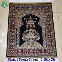 Wholesale 46cmx61cm ftx2ft chinese oriental handknotted spun silk carpet rugs blue prayer style price for livingroom bedroom coffe table